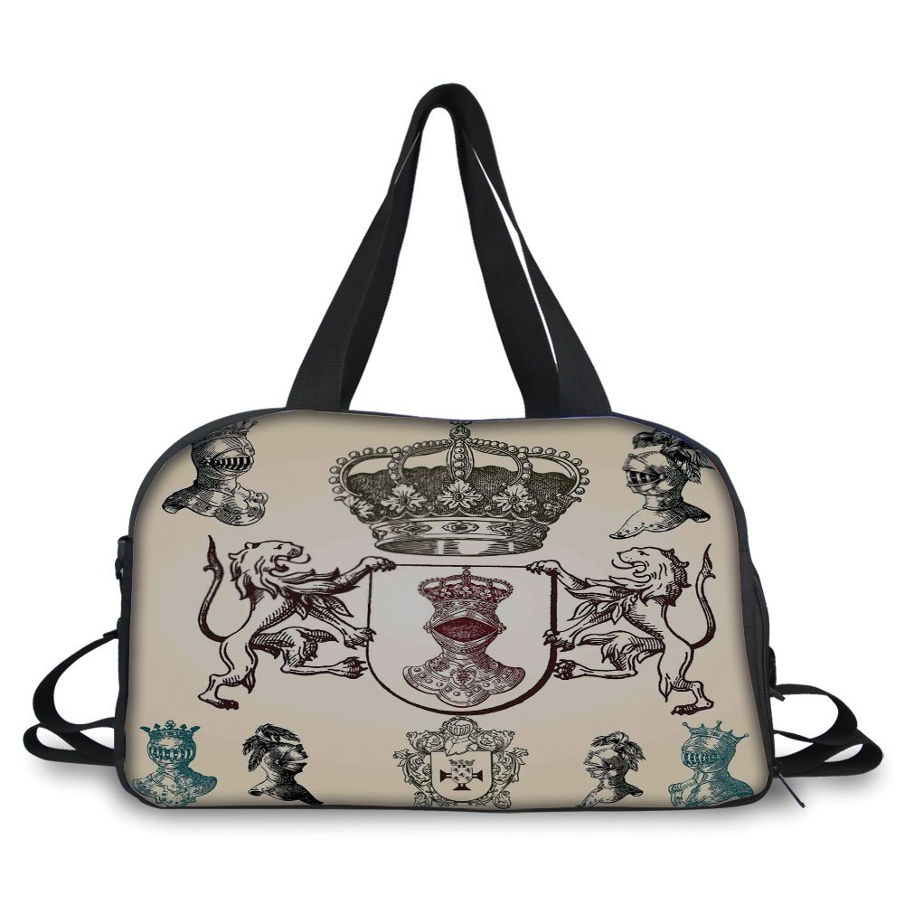 Travelling bag,Medieval,Shield Design With Various Ancient Figures Coat of Arms Blazon Crown Print,Cream Teal Maroon ,Personalized