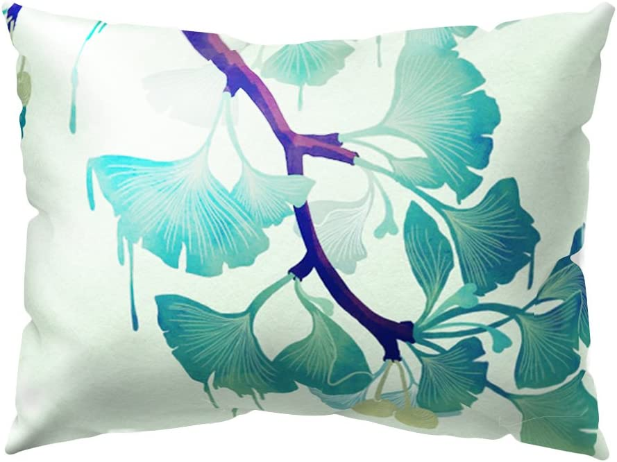 Housse de coussin rectangulaire D/écoration id/éale #2 Funie Motif/: feuilles tropicales 30cm x 50cm