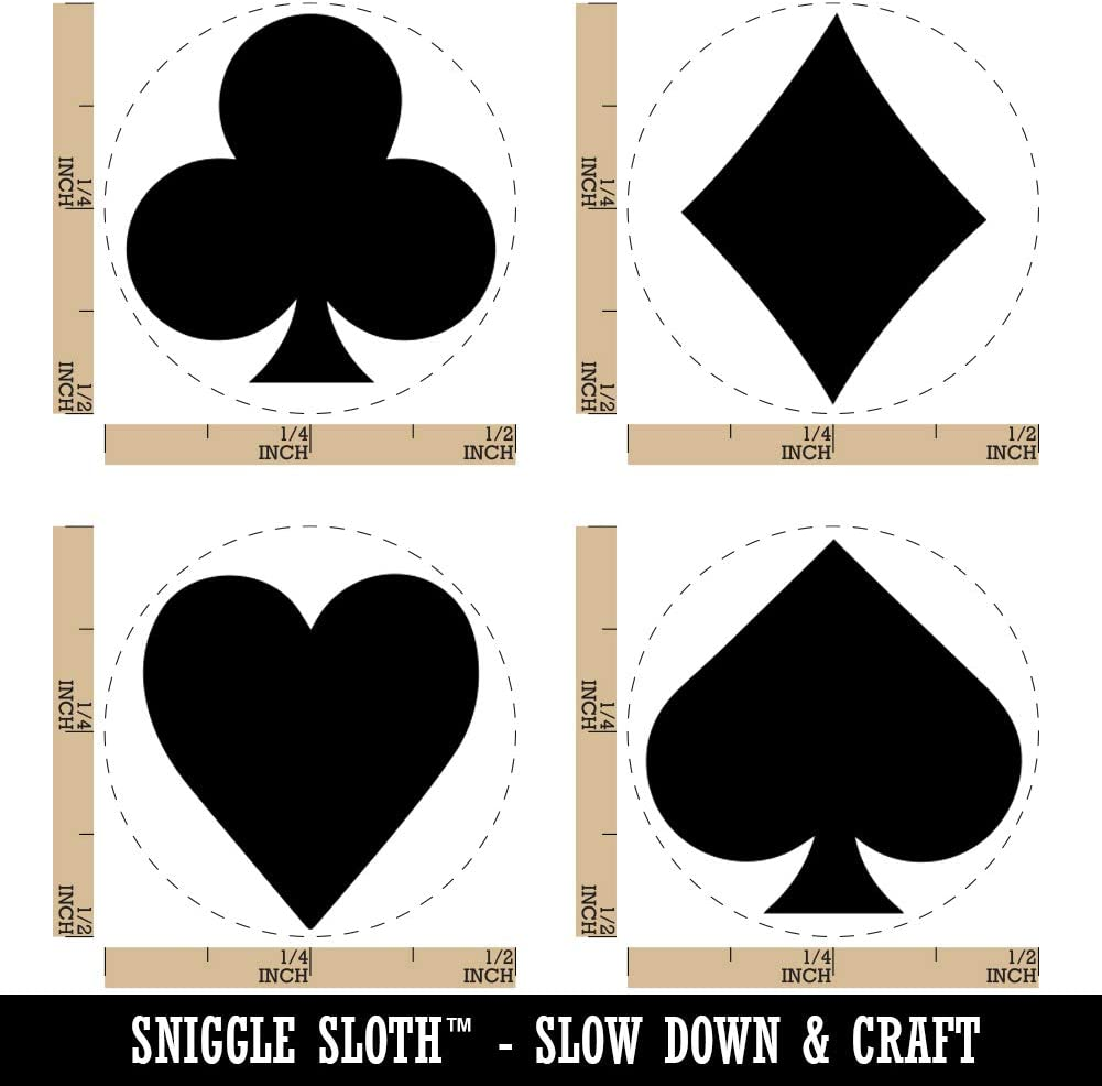 1//2 Inch Mini Playing Card Suit Symbols Clubs Diamonds Hearts Spades Rubber Stamp Set for Stamping Crafting Planners