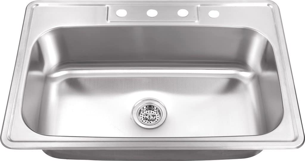 MSDP3322SB 33-in x 22-in 20 Gauge Stainless Steel Single Bowl Kitchen Sink