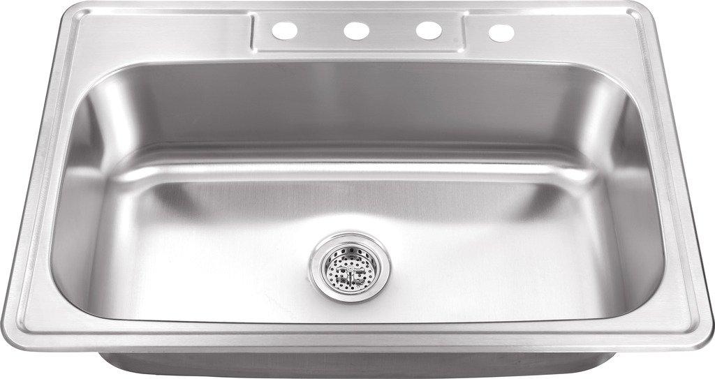 MSDP3322SB 33-in x 22-in 20 Gauge Stainless Steel Single Bowl Kitchen Sink