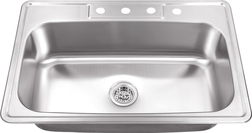 MSDP3322SB 33-in x 22-in 20 Gauge Stainless Steel Single Bowl Kitchen Sink by Magnus Sinks