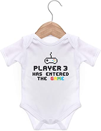 ART HUSTLE Player 3 Has Entered The Game Rompersuit for A Baby Boy Or A Girl