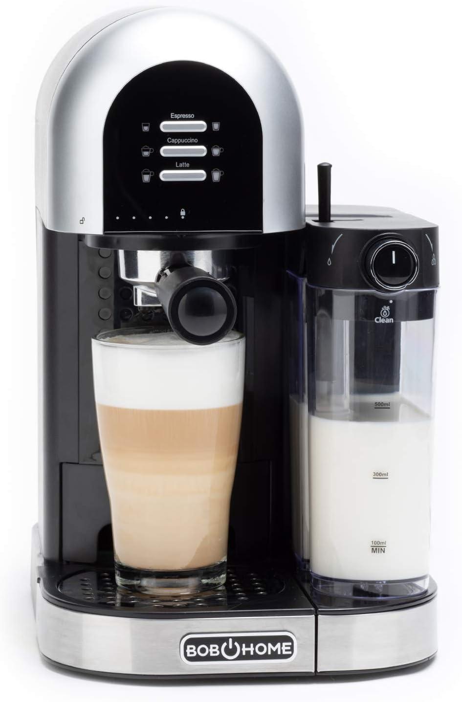 BOB HOME LATTESSA - Cafetera de goteo (15 bares, automática, depósito de leche extraíble, programa de limpieza, especialidades preprogramadas, altura de taza ajustable): Amazon.es: Hogar
