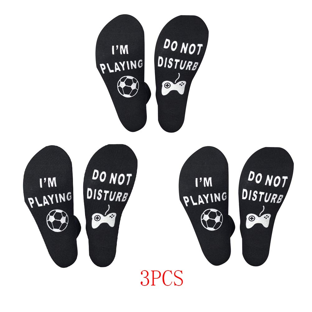 3 Pcs GridNN Mens Womens Cotton Do Not Disturb Novelty Socks Do Not,Im Playing Fortniter Socks Gift for Fortnite Game Lovers