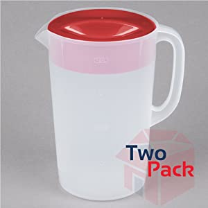 Rubbermaid 071691306320 1 Gallon Servin' Saver Pitcher (Set of 2), 1, Red