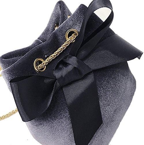 Black Secchiello MINGMO Borsa Tracolla A Donna Velluto Gray In Bowknot Per A Borsa raaP0qWR