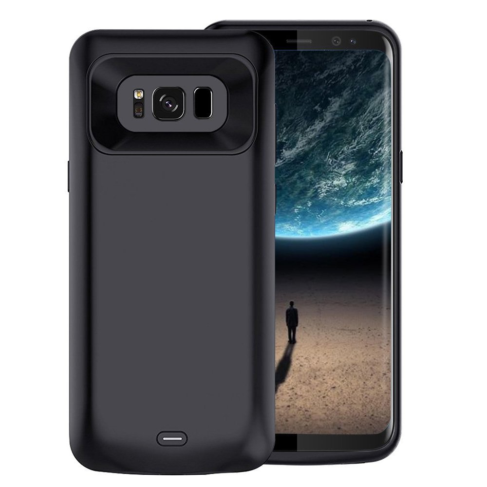 Galaxy S8 Plus Battery Case, 5500 mAh Slim Portable Rechargeable Extended Battery Pack Charger Case, Power Bank Charging Case for Samsung Galaxy S8 Plus-Black
