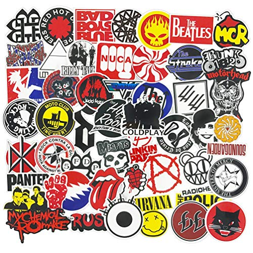 (Rock Band Stickers Pack Music Stickers for Guitar Laptop Luggage Water Bottle Bumper Punk Stickers Decals 50pcs)