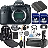 Canon EOS 6D DSLR Camera (Body Only). Kit Includes, 2Pcs 32GB Commander MemoryCard + Battery Grip + Extra Battery + Backpack Case + Grip Strap + Air Blower + Cleaning Kit