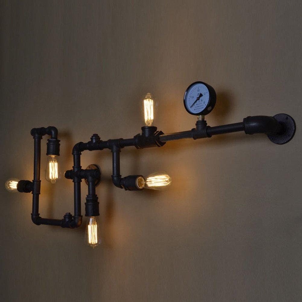 BAYCHEER HL371017 Industrial Retro Vintage style Farmhouse Industry Steam Punk Water Pipe Wall Sconce wall light lamp with use 5 each 40w E26 Bulbs by BAYCHEER
