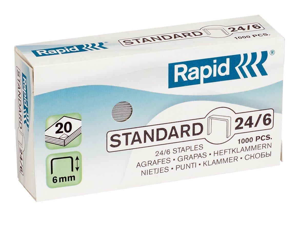 Rapid Agrafes Standard 24/6, Longueur 6 mm, 1000 Agrafes, Agrafe jusqu'à 20 feuilles, Fil galvanisé, 24855600