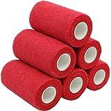 YuMai Selbsthaftende Elastische Bandage, 10 cm x 6 Rollen, Athletic Medizinische Cohesive Bandage, - Rot