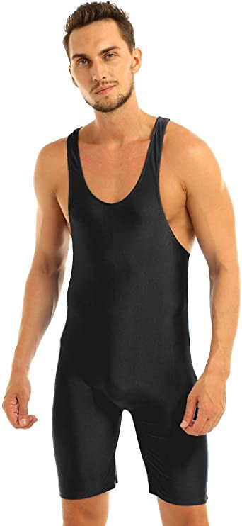 JEATHA Mens Adult One-Piece Wrestling Singlet Leotard Racer Back Bodysuit Thongs Gym Sports Outfits