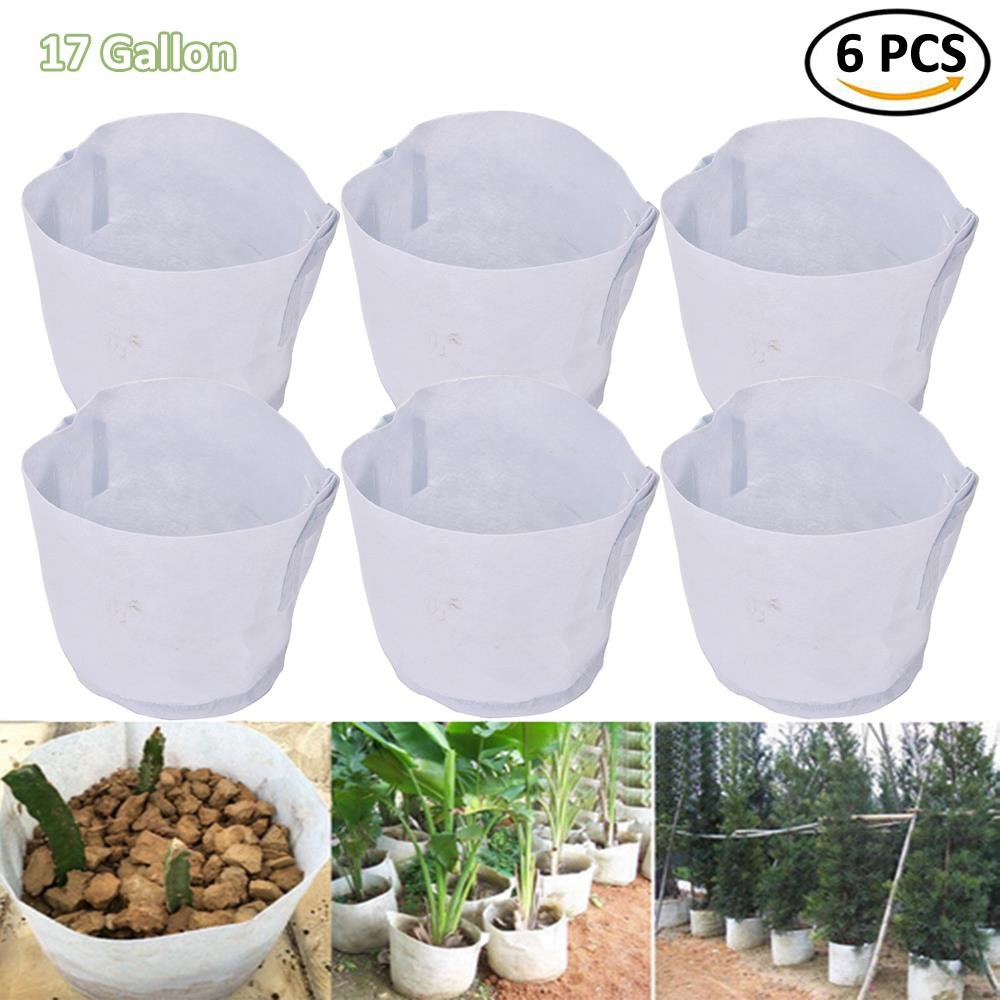BraveWind 6 PCS 17 Gallon Garden Grow Bags Fabric Pots Plant Pouch Round Container Root Aeration Pot Planter with Handles Surging B Waves