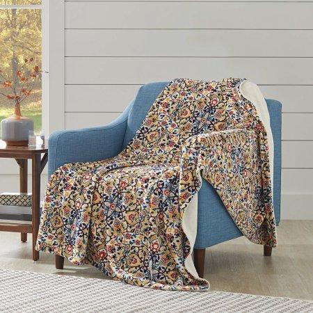 Better Homes and Gardens Oversized Medallion Polyester Reversible Velvet Plush Throw Blanket from Better Homes & Gardens