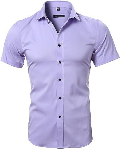 Camisa Bambú Fibra Hombre, Manga Corta, Slim Fit, Camiseta Elástica Casual/Formal para Hombre, Morado Claro, 42 (Hombro 48CM, Pecho 112CM): Amazon.es: Ropa y accesorios