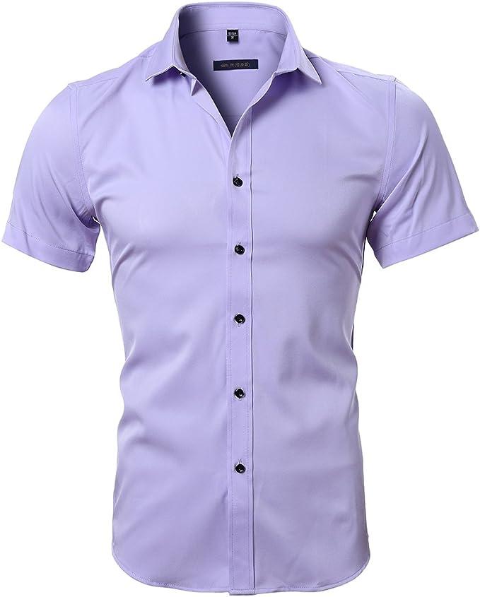 Camisa Bambú Fibra Hombre Manga Corta Slim Fit Camiseta Elástica Casual Formal Para Hombre Morado Claro 42 Hombro 48cm Pecho 112cm Amazon Es Ropa Y Accesorios