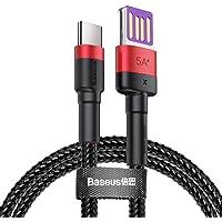 Baseus CATKLF-P91 Cafule Special Edition HW Hızlı Şarj Data USB Kablosu, Type-C, 5A, 1M, Kırmızı, Siyah