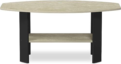 FURINNO Simple Design Coffee Table, Cream Faux Marble Black