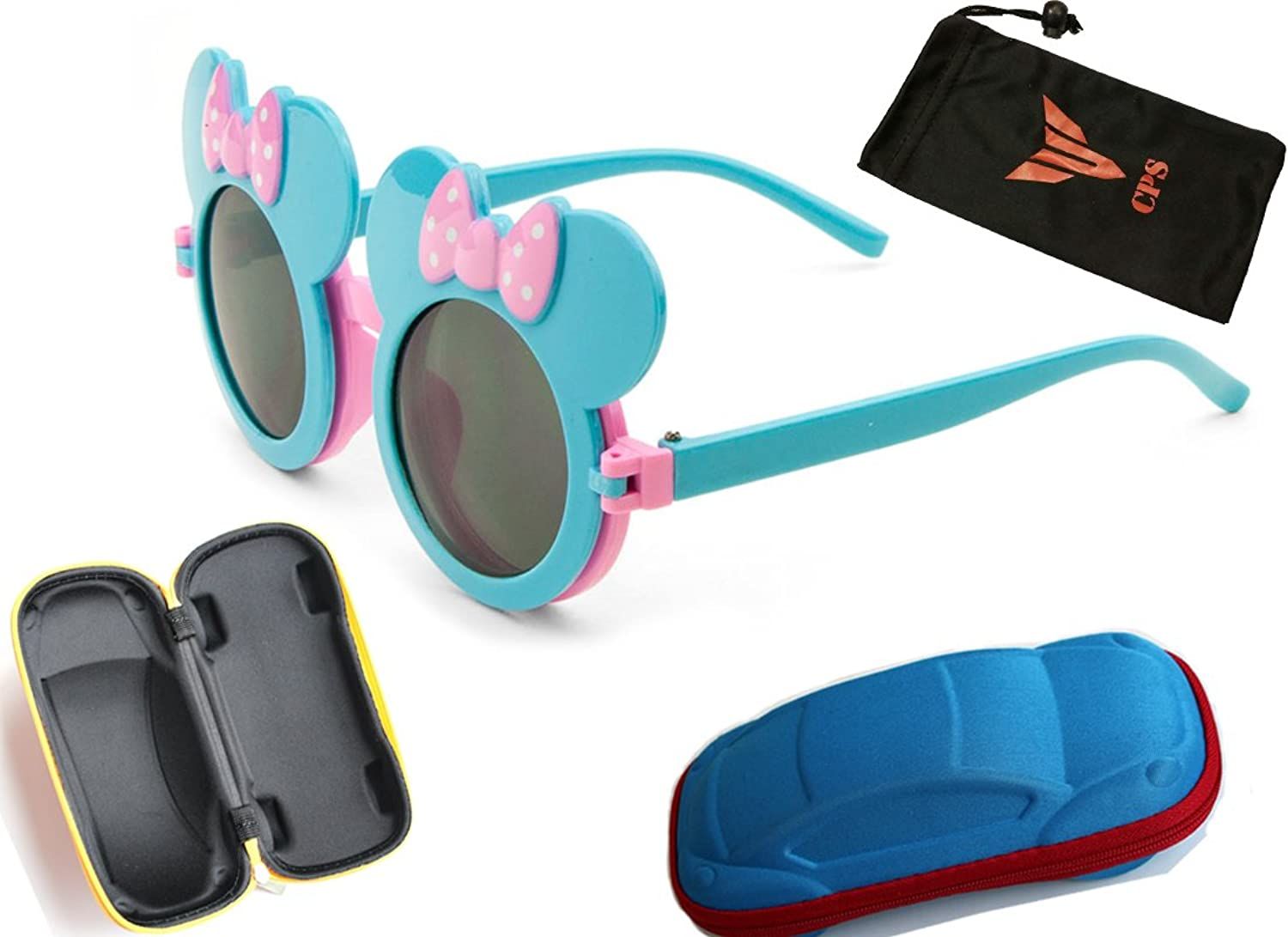 (#K766 Blu & Blu) Mouse Sunglasses Eye Glasses For Kids With Carrying Storage Cute Car's Hard Case