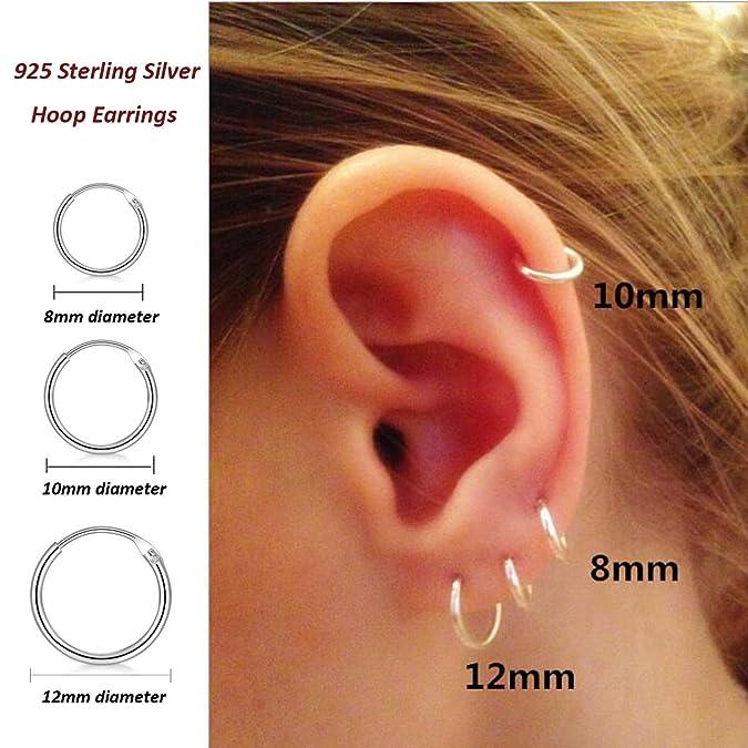 Amazon.com  3 Pairs Sterling Silver Small Hoop Earrings Set 10mm  Hypoallergenic Endless Cartilage Earrings for Women Men Girls  Jewelry 8f37f5b42dc6