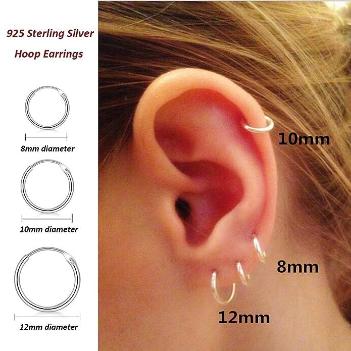 dd2b4e212c982 925 Sterling Silver Small Hoop Earrings Hypoallergenic Unisex Endless  Cartilage Earrings Body Piercing Nose Lip Rings for Women Men Girls, 8-60mm