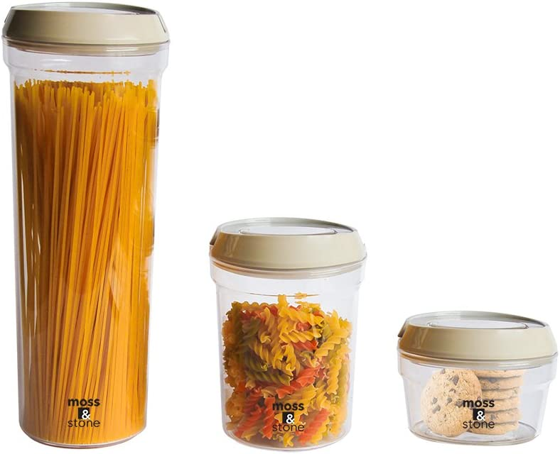 Moss & Stone 3 Piece Set Airtight Food Storage Containers Easy to Open - BPA Free Plastic Kitchen Cabinet Essential Sizes for Pantry Organization and Storage, Clear Plastic for Rice and Flour