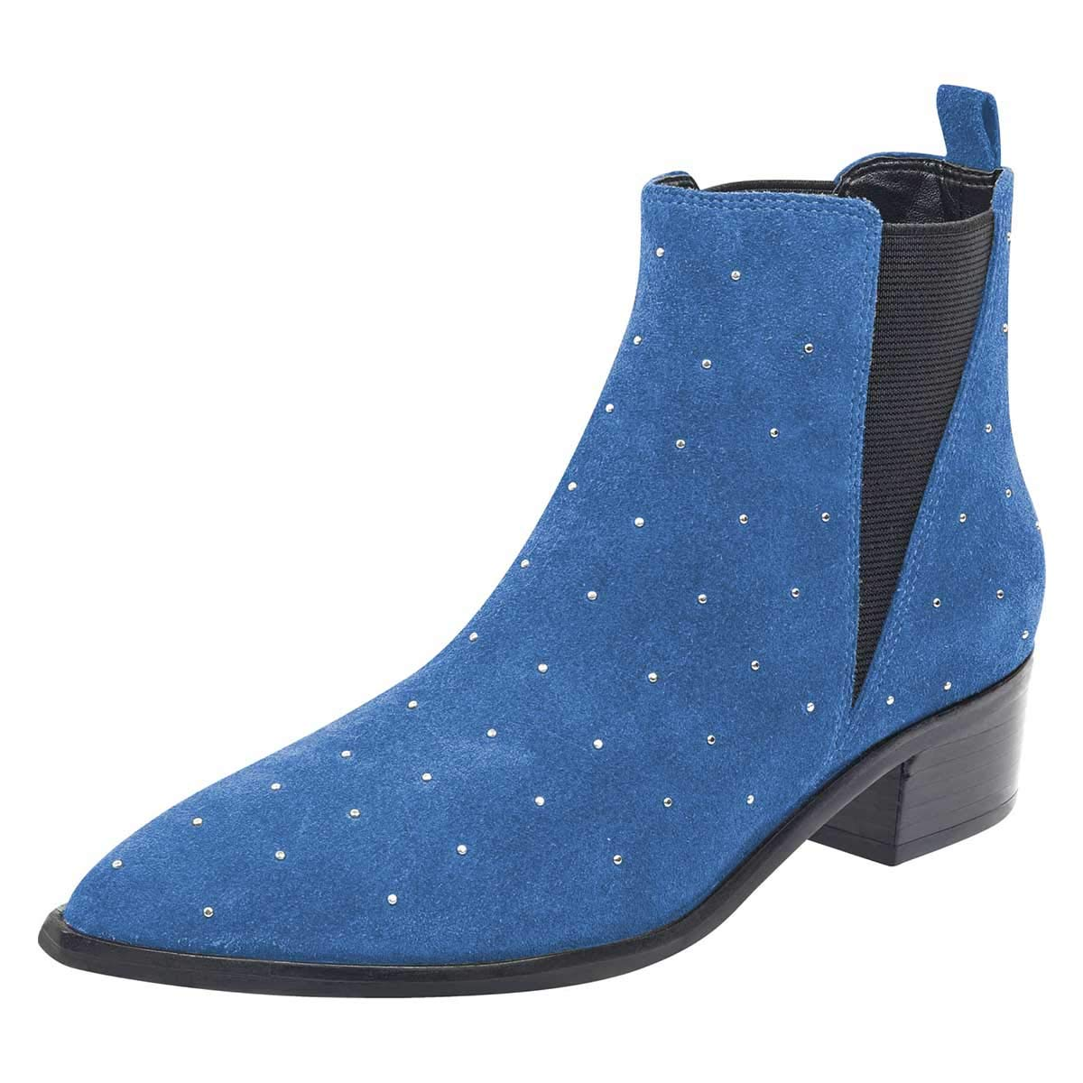 bluee FSJ Women Pointed Toe Studded Chelsea Boots Block Low Heels Comfortable Suede Ankle Booties Size 4-15 US