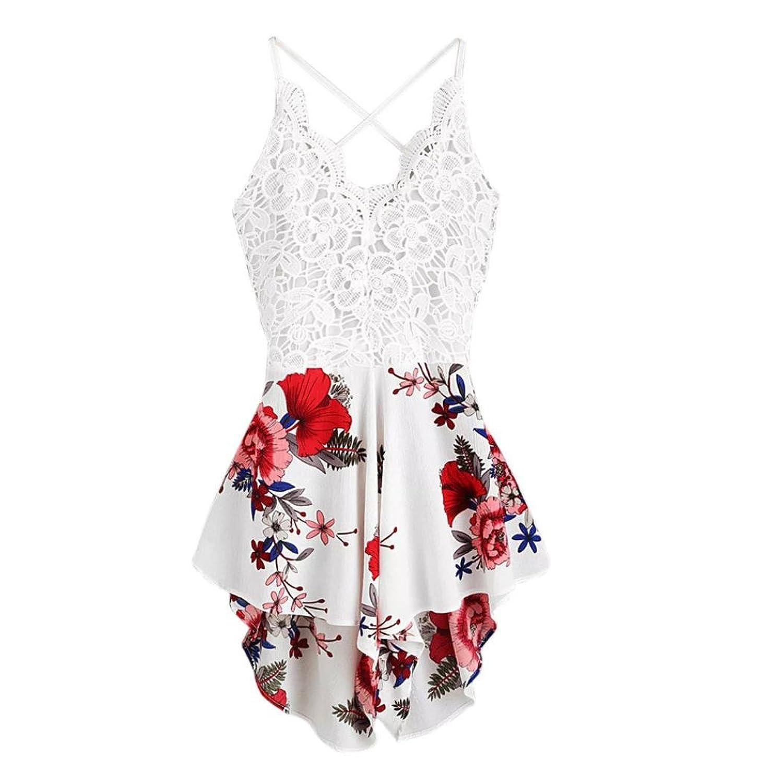6bad83356f982f Jumpsuit Damen Sommer LHWY Frauen Spitzen Tops Elegant Backless Panel  Fliege zurück Blumen Kurz Mini Sommerkleid