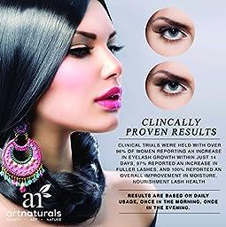 ArtNaturals Eyelash Growth Serum, Thicker, Longer Eyelashes and Eyebrows Enhancer with Lush, Dermatologist Tested Product, Revolutionary Pentapeptide, 17 and Swiss Apple Stem Cells, 3.5ml