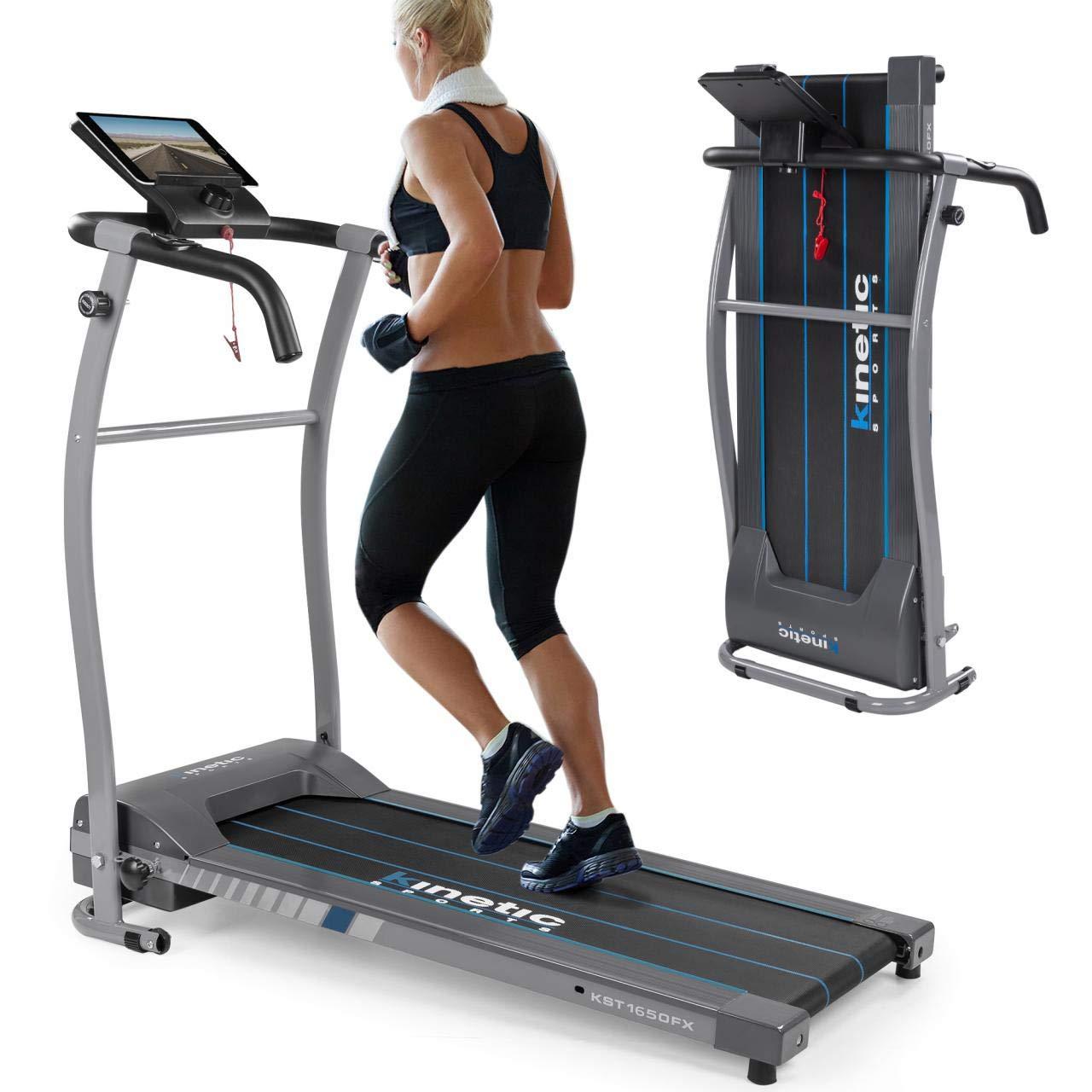 Kinetic Sports Laufband 500 Watt leiser Elektromotor 6 Pogramme, GEH- und Lauftraining, Tablethalterung, stufenlos einstellbar bis 10 km/h, klappbar