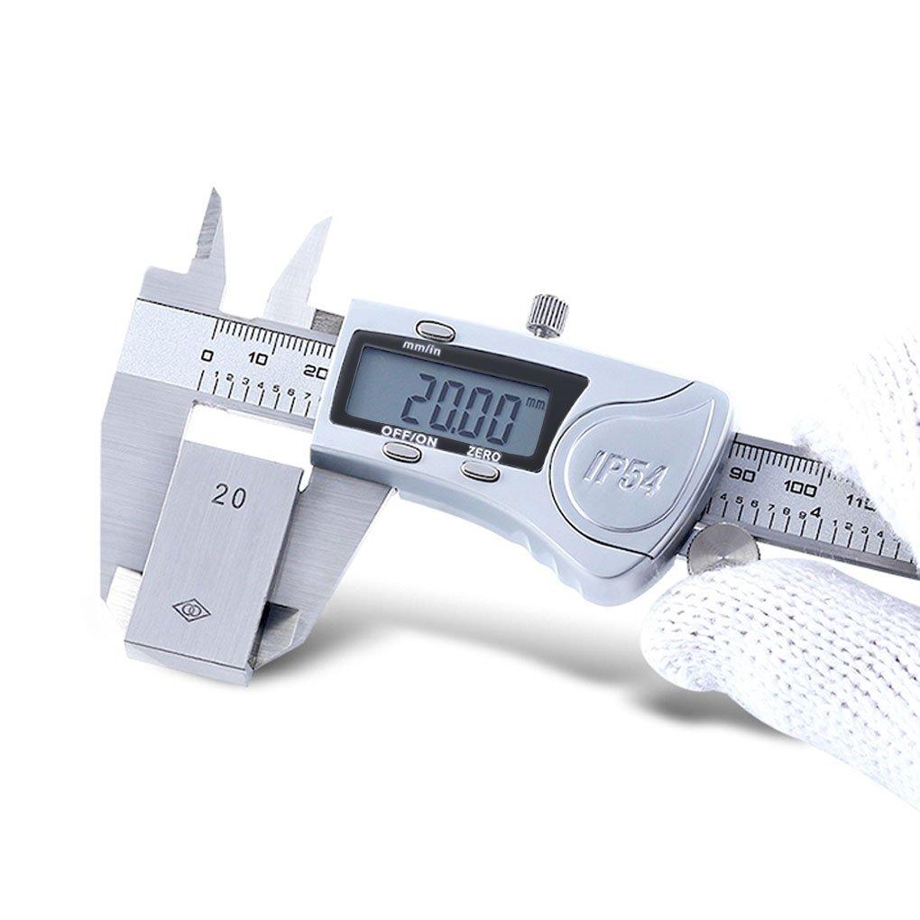Metric Caliper Measuring Tool IP54 Digital Vernier Calliper Micrometer Set Test Inch/Metric/Fractions Conversion Extra Large LCD Screen Gauge Waterproof Stainless Steel Electronic 6''/150mm