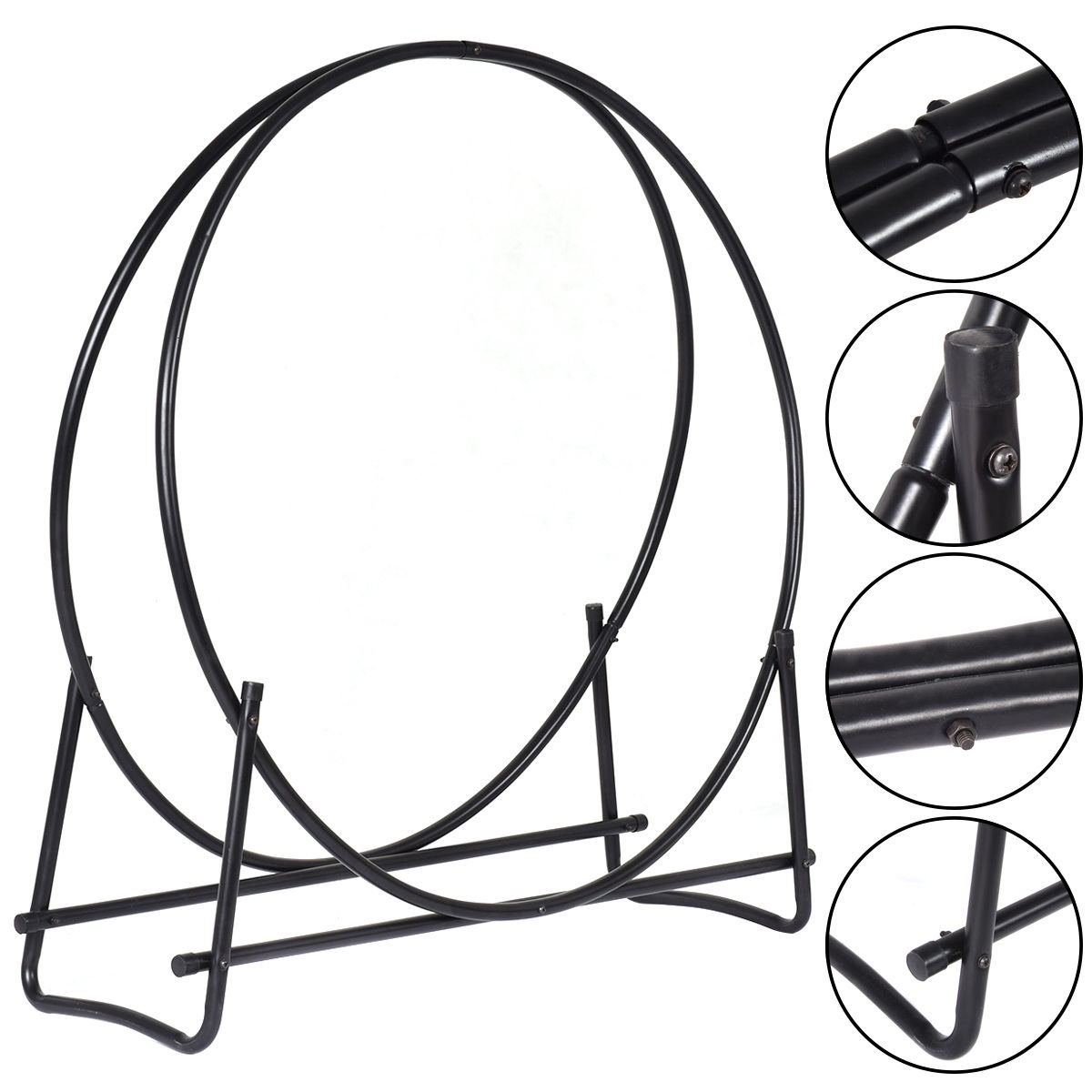 MasterPanel - 40-Inch Tubular Steel Log Hoop Firewood Storage Rack Holder Round Display #TP3284