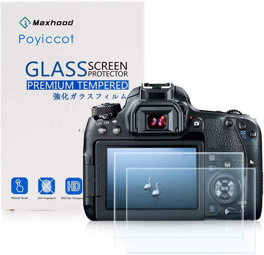 (2-Pack) Canon EOS 77D Tempered Glass Screen Protector, Poyiccot Optical 9H Hardness 0.3mm Ultra-Thin DSLR Camera Tempered Glass with Top LCD PET Screen Protector Film for Canon 77D