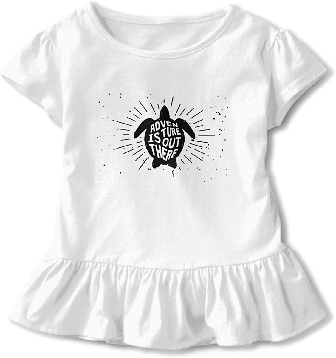 Turtle Silhouette Vintage Little Girls Short Sleeve Peplum Tee Tops