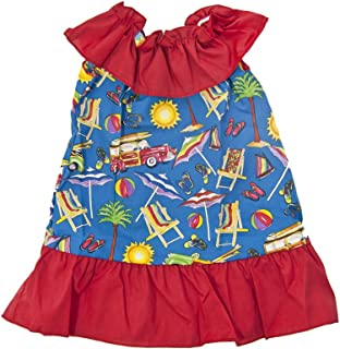 product image for Cheeky Banana Sweet Little Girls Beach Ruffled Collar Dress Red/Blue