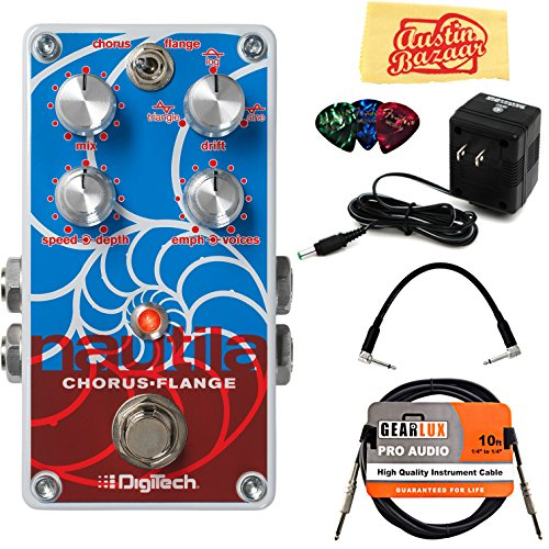 DigiTech Nautila Chorus/Flanger Pedal Bundle with Power Supply, Instrument Cable, Patch Cable, Picks, and Austin Bazaar Polishing Cloth