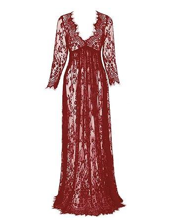 deb6c0cf28b0 JapanAttitude Longue Robe en Dentelle Rouge Bordeaux Transparente ...