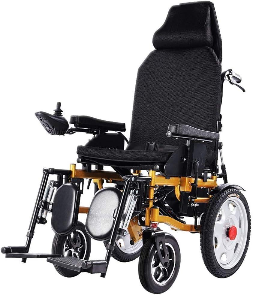 LYDIANZI Resistente a la intemperie portátil silla de ruedas eléctrica, ligero, plegable, for trabajo pesado, batería dual, dual motorizado Silla de ruedas eléctrica, puede mentir plana y cómodo Elect