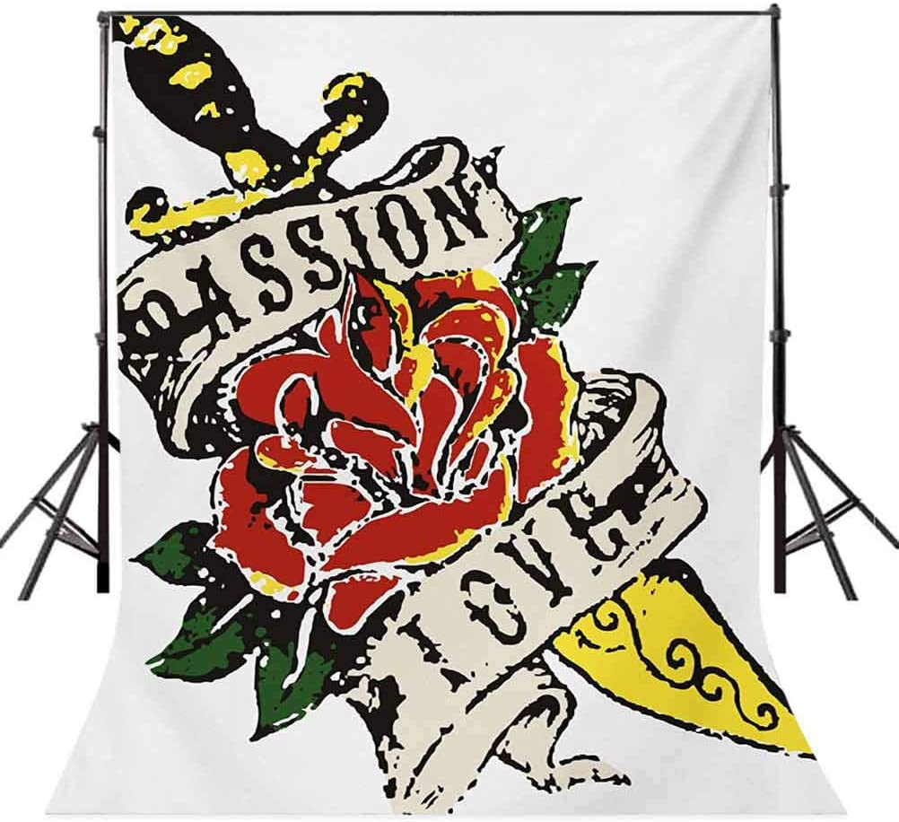 Rose 10x12 FT Backdrop Photographers,Vintage Rose Wrapped Tool in Tattoo Art Style Gothic Passion and Love Theme Background for Baby Shower Birthday Wedding Bridal Shower Party Decoration Photo Studio