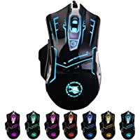 RGB Light up Wired Mouse for Laptop - Durable USB Computer Led Mice w/ 7 Color Backlit, 4 Adjust DPI Up to 3200 for Gaming, Silent & Stable PC Corded Mouse for Mac MacBook Windows Vista Linux PS4