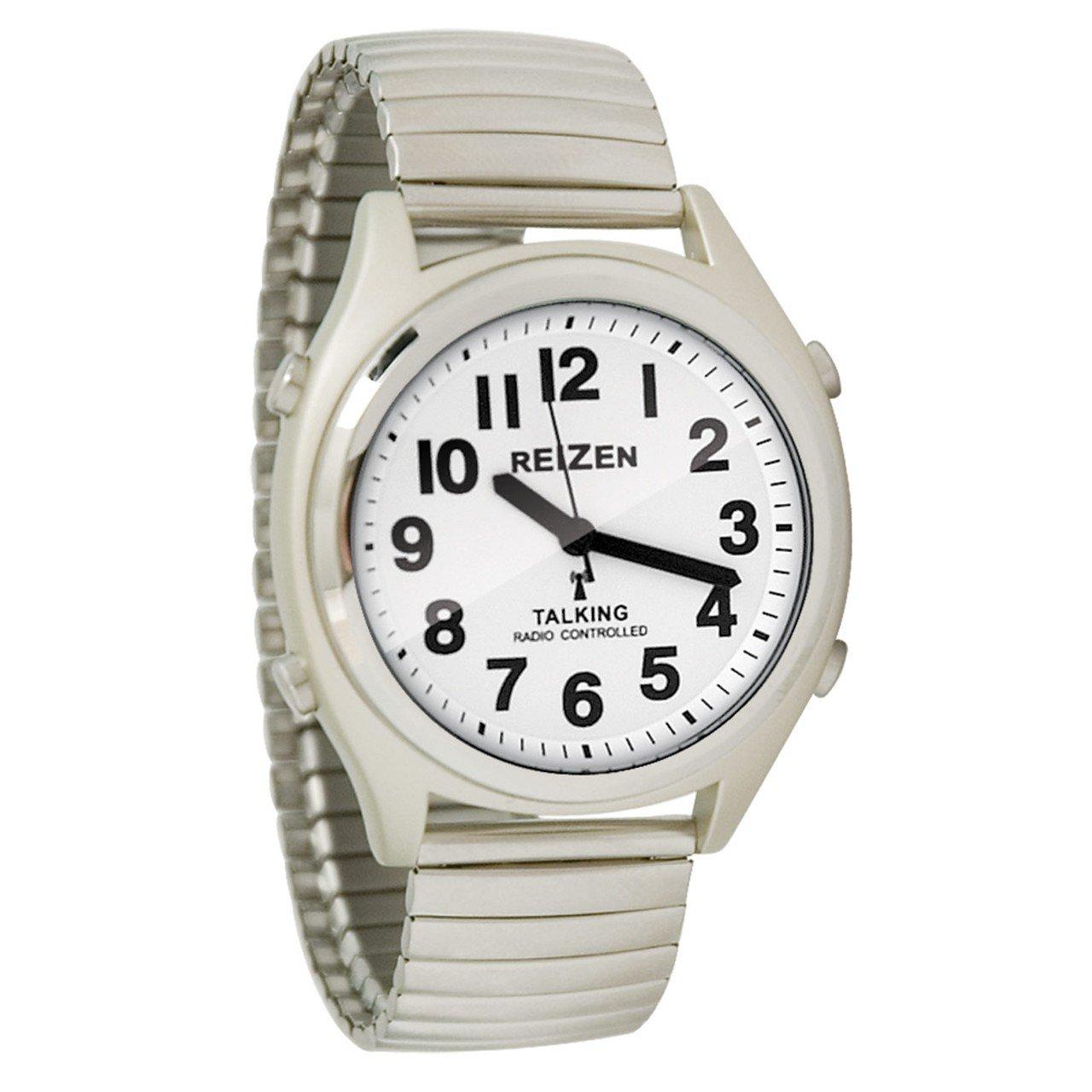 Reizen Talking Atomic Watch - White Face-Black Numbers-Expansion Band
