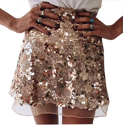 Engood Women's Sexy Sequins Cocktail Mini Skirt Club Dress Gold - Sparkle Mini Skirt