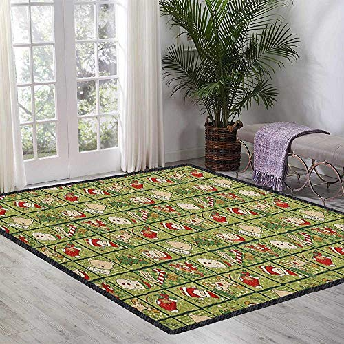 Christmas Home Decor Rug,Cartoon Santa Claus Trees Teddy Bears Candies Sketchy Design Print for Dining Room Bedroom Olive Green Red and White 47