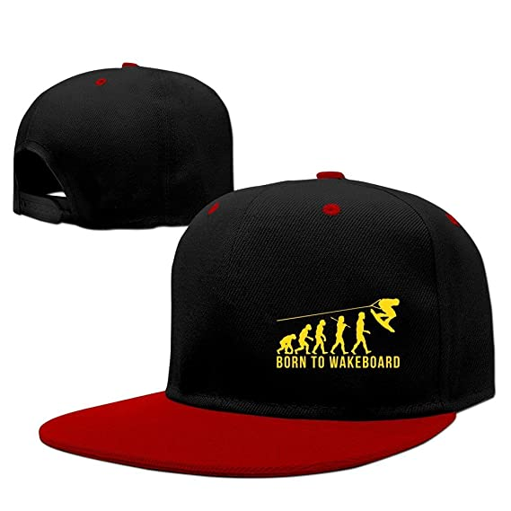 6a893cddd34 Amazon.com  Cool Wakeboarding Evolution Born To Wakeboard Baseball Cap Red   Clothing