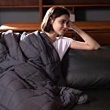 Syrinx Cooling Weighted Blankets 15lbs, 60''x80'', Dark Grey Queen Size for Adults, Soft Heavy Blanket with Glass Beads