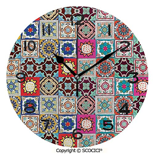 SCOCICI 10 inch Round Clock Collection of Ceramic Mosaic Tiles and Figures with Mathematical Geometric Artful Unique Wall Clock-for Living Room, Bedroom or Kitchen Use