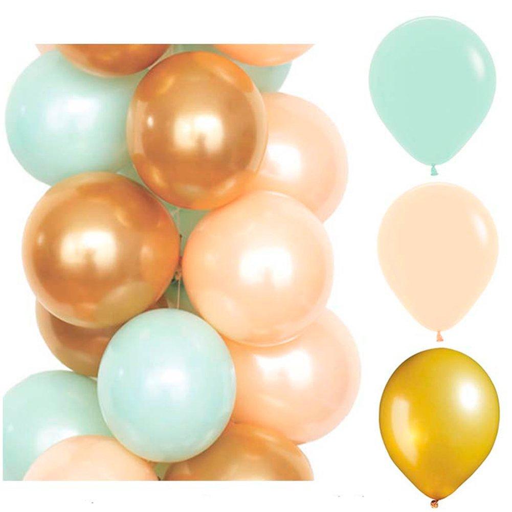 ALLHEARTDESIRES 60 Ct Mixed 10 Pastel Peach Mint Green Gold Party Latex Balloon Wedding Anniversary Christening Girl Baby Shower 1st Birthday Communinon Decoration
