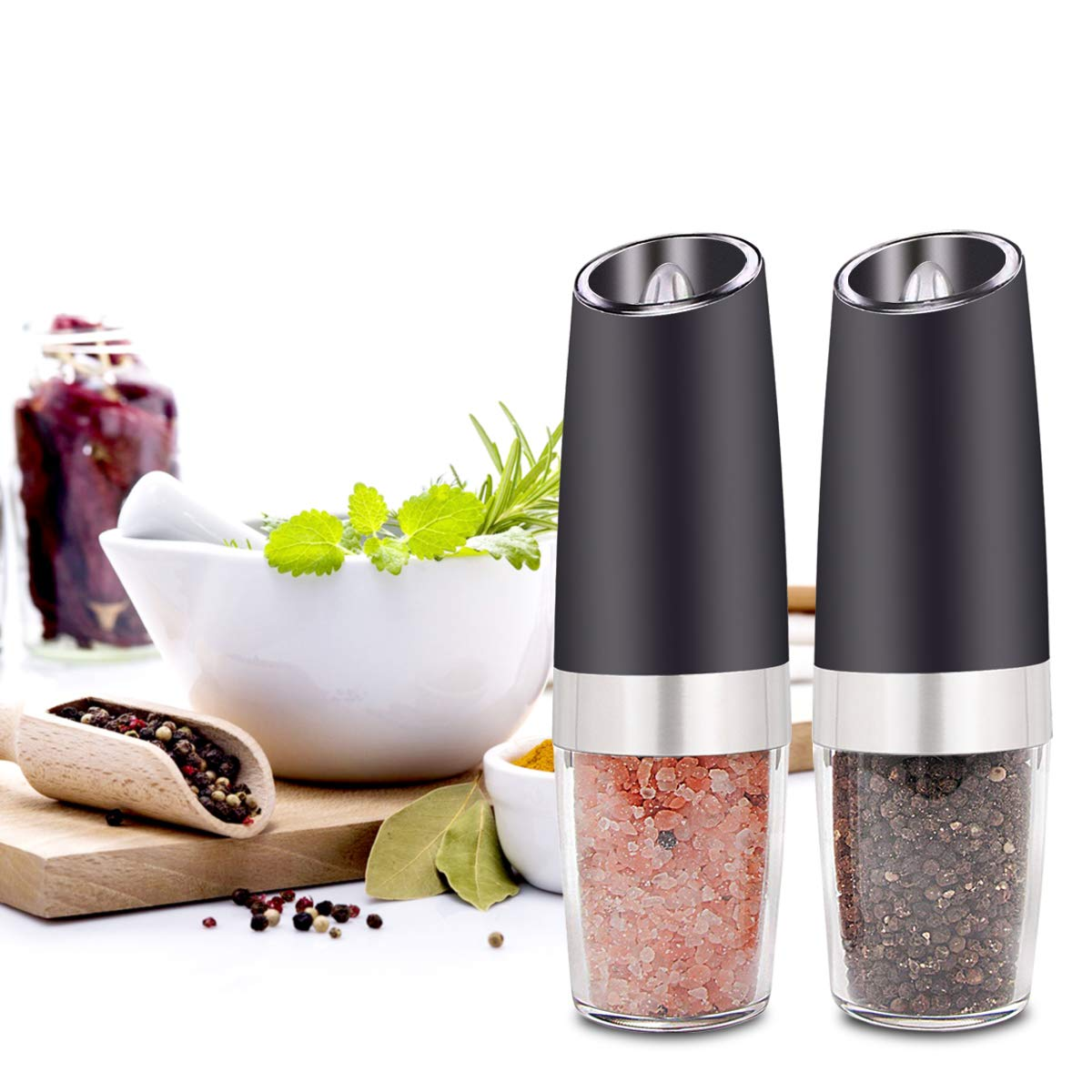 Battery Powered Pepper Mill and Salt Mill,High Capacity,Adjustable Grind Coarseness with Blue LED Light Bencse Gravity Electric Salt and Pepper Grinder Sets